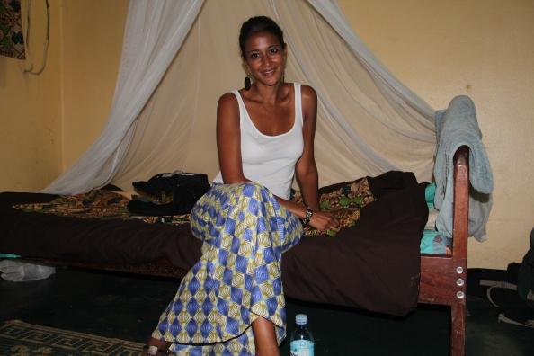 Me wearing a tradition Kitenge (African long skirt) on my last night in Kampala